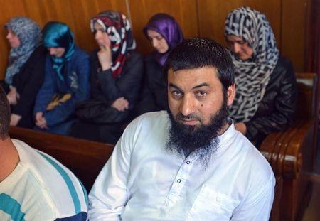 Ahmed Mussa sits inside a court as 12 Bulgarian men, most of them Muslim prayer leaders, and one woman are charged for preaching radical Islam, in Pazardzhik