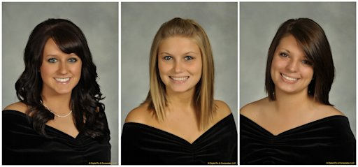 In this undated combination photo released by Bowling Green State University, shown from left is, Sarah Hammond, 21, a junior from Yellow Springs, Ohio, Rebekah Blakkolb, 20, a junior from Aurora, Ohio, and Christina Goyett, 19, a sophomore from Bay City, Mich. The three sorority sisters were killed in an automobile accident on Friday, March 2, 2012.