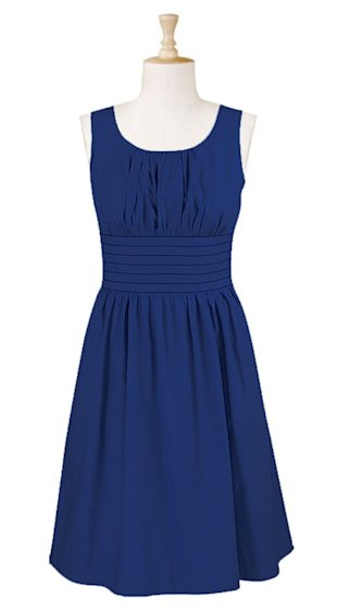 Banded waist cotton poplin dress