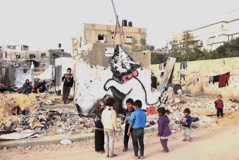 Banksy went to the Gaza Strip to paint new artwork