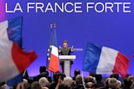 France's incumbent President Nicolas Sarkozy delivers a speech during a campaing rally in southeastern France