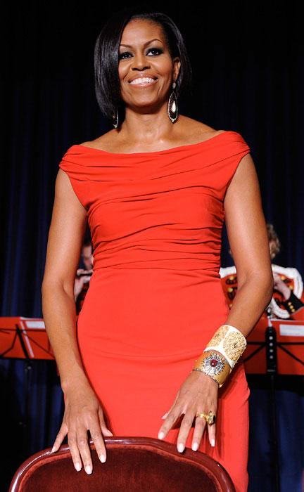 First Lady Michelle Obama looks on during the White House Correspondents' Association Dinner at the Washington Hilton May 1, 2010 in Washington, DC