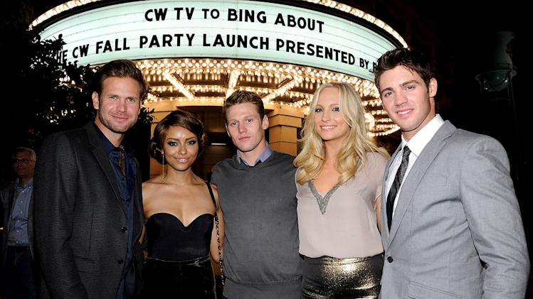 "Matt Davis, Kat Graham, Zach Roerig, Candice Accola, and Steven R. McQueen of ""The Vampire Diaries"" attend The CW Fall Premiere party presented by Bing at Warner Bros. Studios on September 10, 2011 in Burbank, California."
