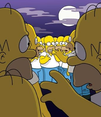 Homer (voiced by Dan Castellaneta) clones himself in the episode 'Treehouse of Horror 13.' Fox's The Simpsons