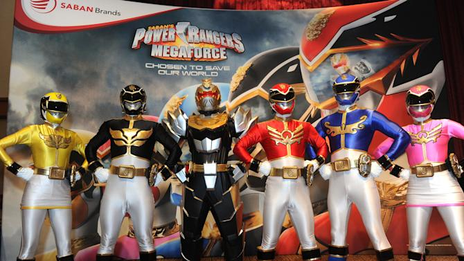 IMAGE DISTRIBUTED FOR SABAN BRANDS - Saban's Power Rangers Megaforce pose during the three day Kidscreen Summit, Tuesday, Feb. 5, 2013, at the Hilton New York. Saban Brands is celebrating the 20th anniversary of the Power Rangers franchise at the conference. (Diane Bondareff/Invision for Saban Brands/AP Images)