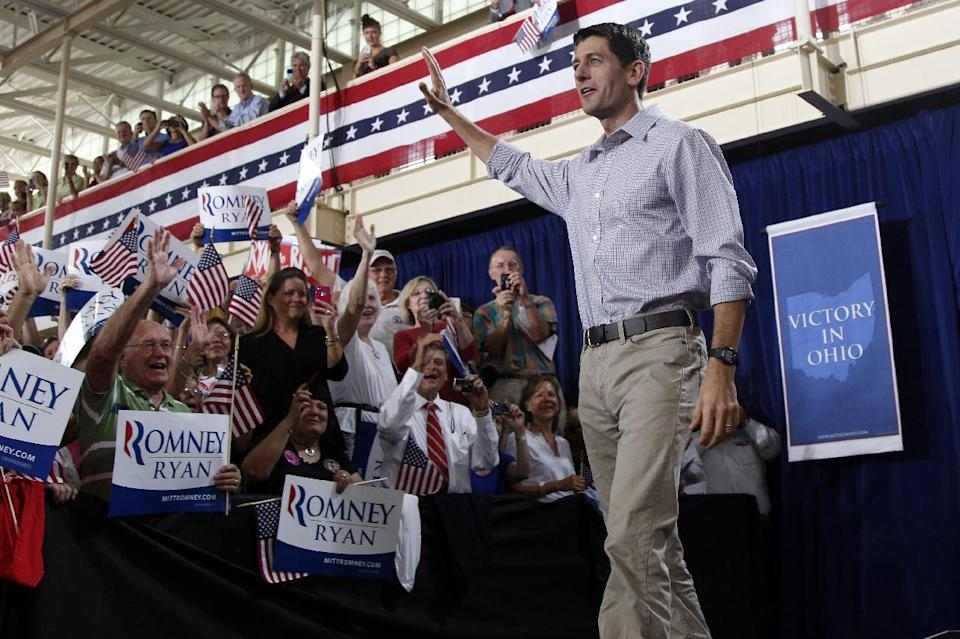Republican vice presidential candidate, Rep. Paul Ryan, R-Wis. arrives at a campaign event at the Westlake Recreation Center, Tuesday, Sept. 4, 2012 in Westlake, Ohio.  (AP Photo/Mary Altaffer)
