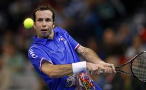 Czech Republic's Stepanek returns the ball to Serbia's Lajovic during their Davis Cup World Group final tennis match in Belgrade