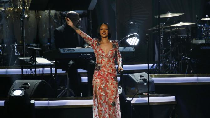 "Singer Rihanna performs ""Say You, Say Me"" at the 2016 MusiCares Person of the Year gala in Los Angeles"