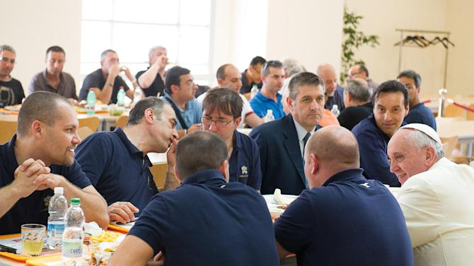 Pope Francisnhas lunch at the Vatican workers' cafeteria, Friday