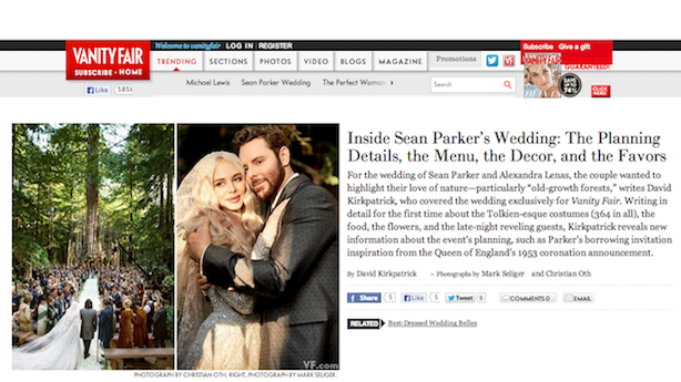To Keep His 'Sacred' Wedding Private, Sean Parker Invited Vanity Fair