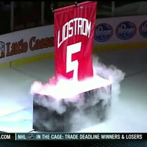 Nicklas Lidstrom banner raising ceremony