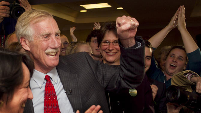 Independent Angus King celebrates his victory for the U.S. Senate seat vacated by Olympia Snowe, R-Maine, Tuesday, Nov. 6, 2012, in Freeport, Maine. (AP Photo/Robert F. Bukaty)