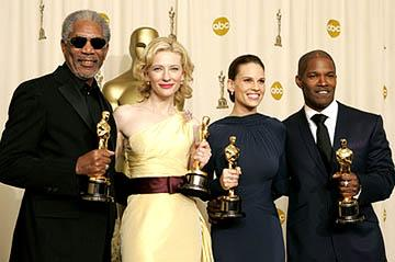 Morgan Freeman, Cate Blanchett, Hilary Swank and Jamie Foxx Best Supporting Actor & Actress, Best Actress & Actor 77th Annual Academy Awards - Press Room Hollywood, CA - 2/27/05