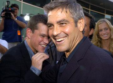 Premiere: Matt Damon and George Clooney at the Hollywood premiere of Universal Pictures' The Bourne Supremacy - 7/16/2004