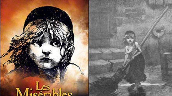 The Les Miserable Broadway cover (left) and an original illustration from Victor Hugo's book.