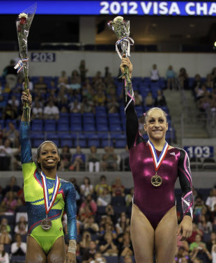 Jordyn Wieber, right, and Gabby Douglas (AP)
