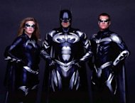 "UNDATED PUBLICITY PHOTOGRAPH - The cast of the new film ""Batman & Robin"" pose in this undated publicity photograph. Shown (L-R) are Alicia Silverstone as ""Batgirl,"" George Clooney as ""Batman,"" and Chris O'Donnell as ""Robin."" The film opens in the United States June 20. fsp/HO-Warner Bros. USA BATMAN - RTR4GCI"