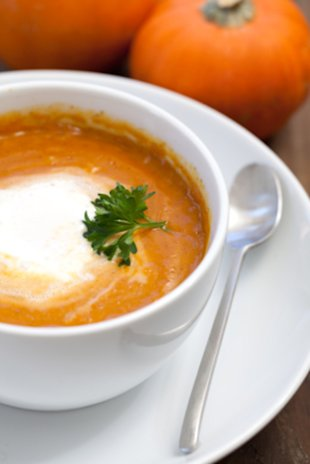 Make your inner vegetarian squeal with delight with this pumpkin bisque.