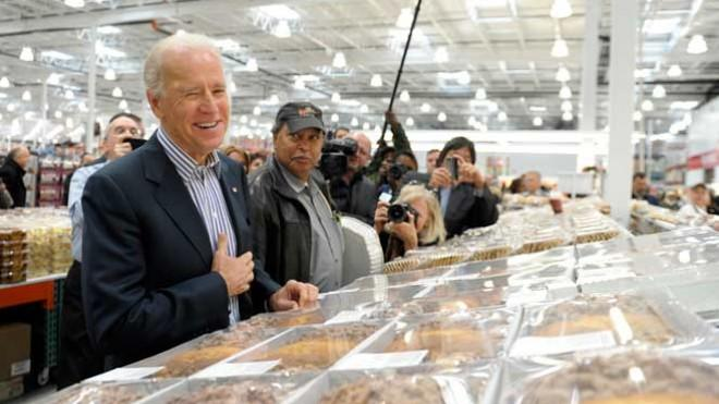 Vice President Joe Biden tries to pass on a free sample in the Costco bakery during his tour of the D.C. location on Nov. 29.