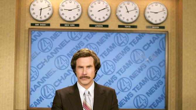 "FILE - This undated photo released by DreamWorks Pictures shows Will Ferrell portraying anchorman Ron Burgundy in ""Anchorman: The Legend of Ron Burgundy"". The Newseum in Washington is poking some fun at TV anchors with a new exhibit about the 2004 comedy ""Anchorman: The Legend of Ron Burgundy"" starring Will Ferrell. The Newseum announced plans Tuesday for ""Anchorman: The Exhibit"" to be created with Paramount Pictures. It's scheduled to open Nov. 14 with props, costumes and footage from the film, including a Burgundy's jazz flute and a mock anchor desk. (AP Photo/Frank Masi, File)"