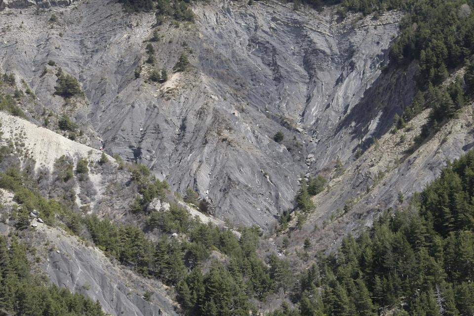 A view of the crash site near Seyne-les-Alpes, France, Monday, March 30, 2015.  European investigators are focusing on the psychological state of a 27...