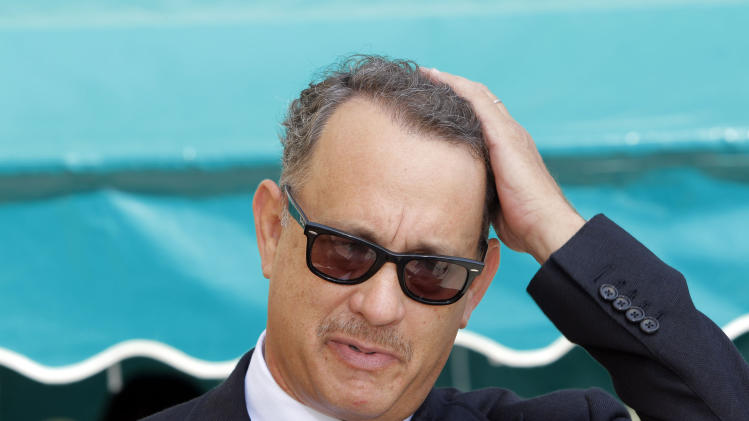 Actor Tom Hanks arrives at the Michael Clarke Duncan Memorial Service at Forest Lawn Memorial-Park and Mortuaries in the Hollywood Hills selection of Los Angeles Monday, September 10,  2012. (AP Photo/Nick Ut)