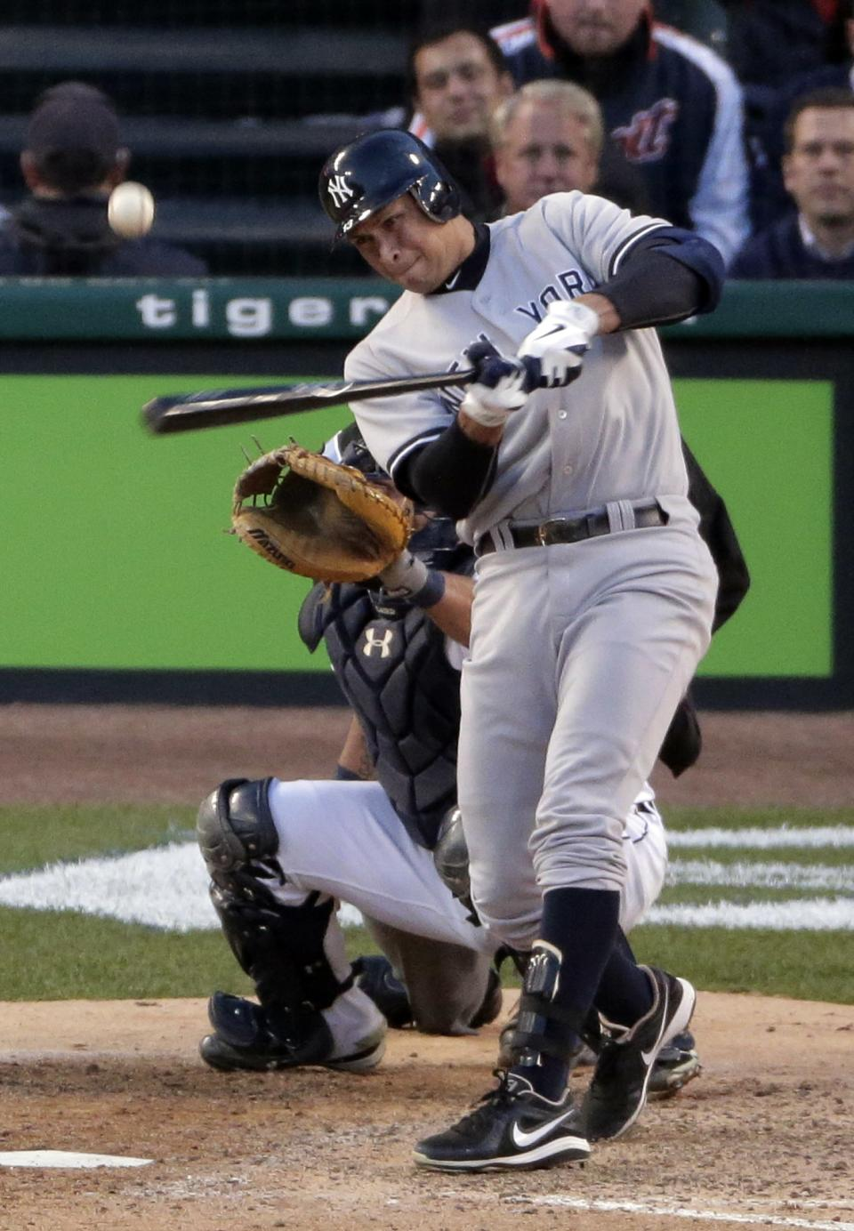 New York Yankees' Alex Rodriguez flies out in the sixth inning during Game 4 of the American League championship series against the Detroit Tigers Thursday, Oct. 18, 2012, in Detroit. (AP Photo/Charlie Riedel)