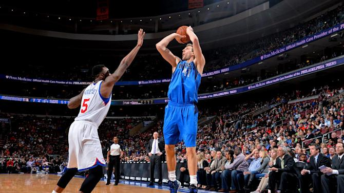 Nowitzki, Marion lead Mavericks over 76ers
