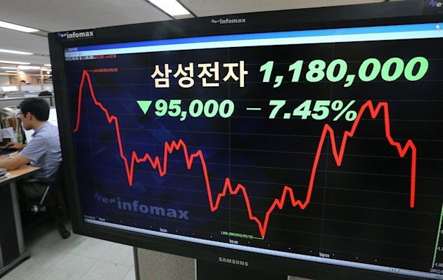 "A electronic stock price board shows the 7.45 percent nosedive of Samsung Electronics Co. share price, to 1,180,000 won (US$1,039.65 ), at a bank in Seoul, South Korea, Monday, Aug. 27, 2012. Asian markets drifted lower Monday in early trading as Apple's court victory in a high-stakes patent dispute sent shares of Samsung Electronics and its affiliates into a tailspin. The letters on a screen read "" Samsung Electronics Co"". (AP Photo/Yonhap, Suh Myung-gon) KOREA OUT"