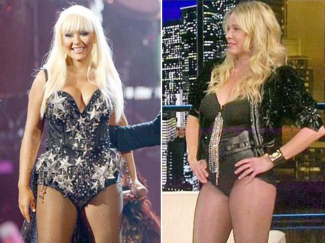 LOL! Chelsea Handler Wears Christina Aguilera Bodysuit to Surprise Blake Shelton