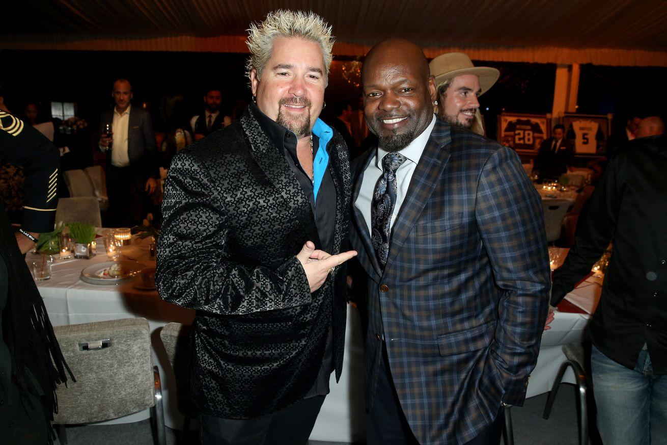 4 photos of Guy Fieri pointing at people during Super Bowl 50 festivities