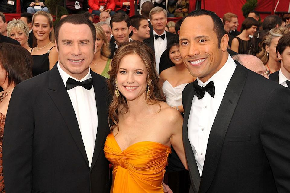 Oscars 2008 John Travolta Kelly Preston Dwayne Johnson