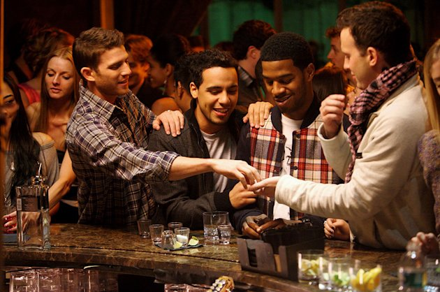 Bryan Greenberg, Victor Rasuk, Scott &quot;Kid Cudi&quot; Mescudi, and Eddie Kaye Thomas in &quot;How To Make It In America.&quot; 
