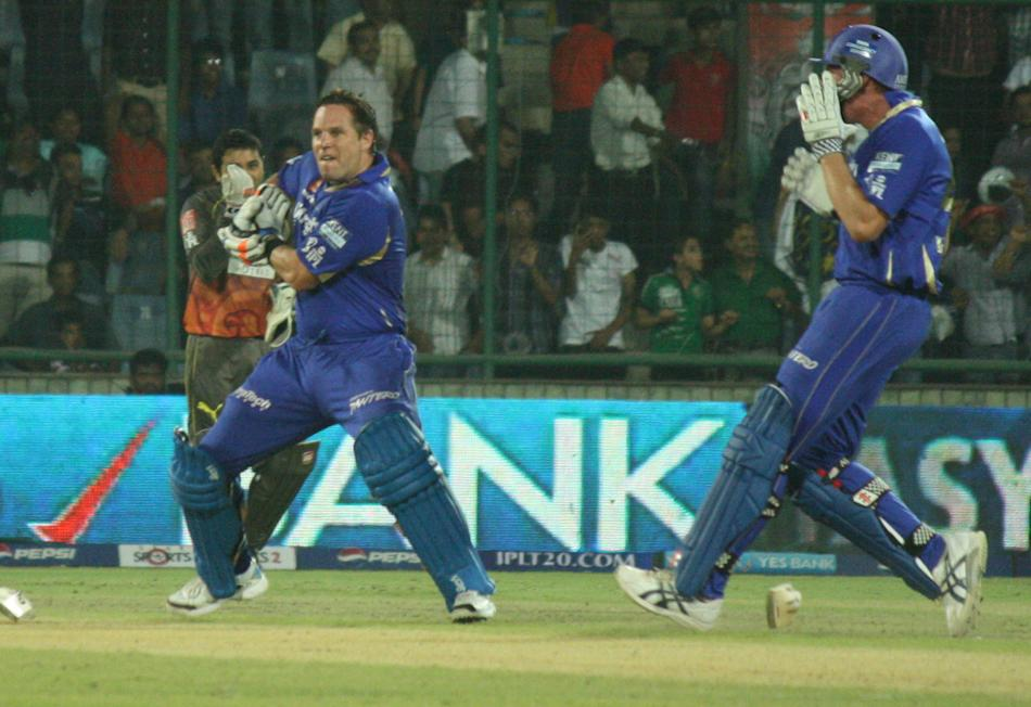 Rajasthan Royals batsman Brad Hodge and James Faulkner celebrates win during the match between Sunrisers Hyderabad and Rajasthan Royals at Feroz Shah Kotla, Delhi on May 22, 2013. (Photo: IANS)