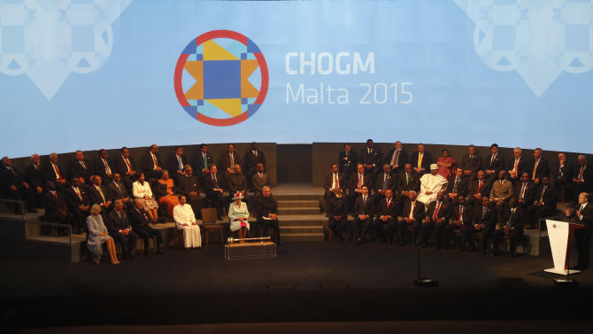 Malta's Prime Minister Muscat addresses the opening ceremony of the Commonwealth Heads of Government Meeting in Valletta