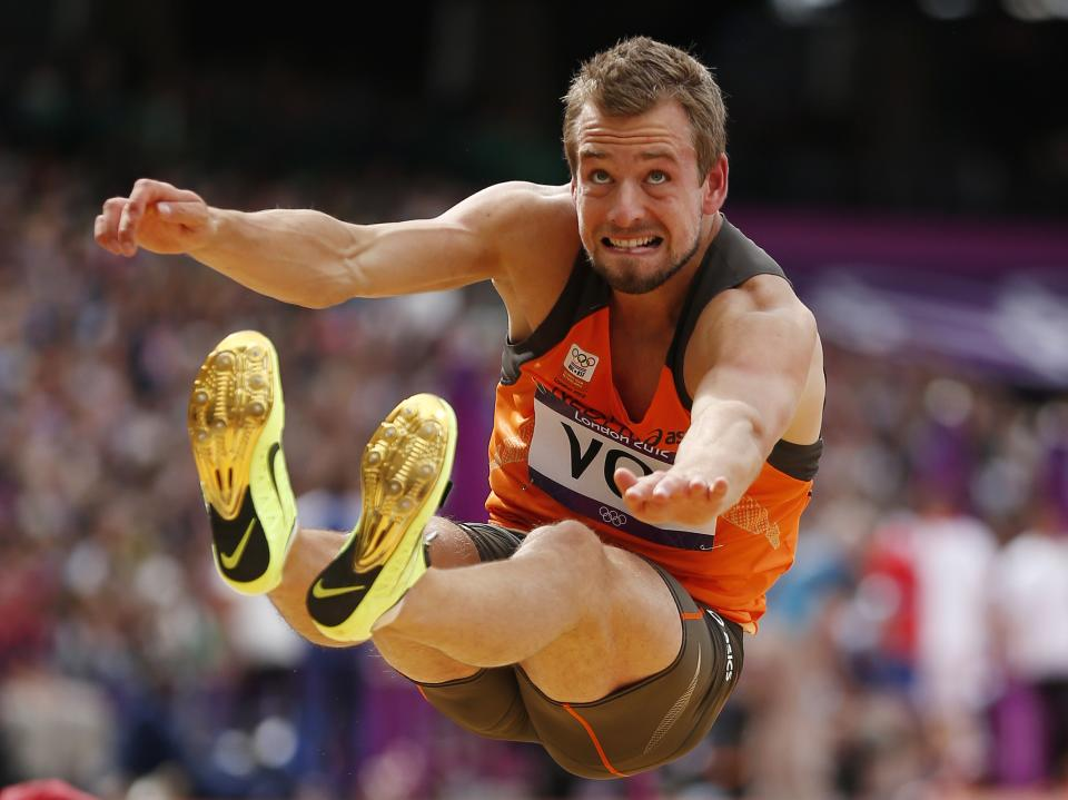 Netherlands' Ingmar Vos competes in a long jump decathlon during the athletics in the Olympic Stadium at the 2012 Summer Olympics, London, Wednesday, Aug. 8, 2012. (AP Photo/Matt Dunham)