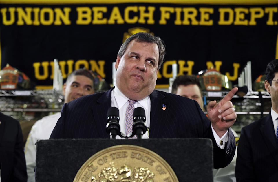 FILE - In this Feb. 5, 2013 file photo, New Jersey Gov. Chris Christie feigns a stern look while speaking in Union Beach, N.J., after he was playfully asked about his weight. With humor and candor, Christie has been addressing a political vulnerability: his weight. (AP Photo/Mel Evans, File)
