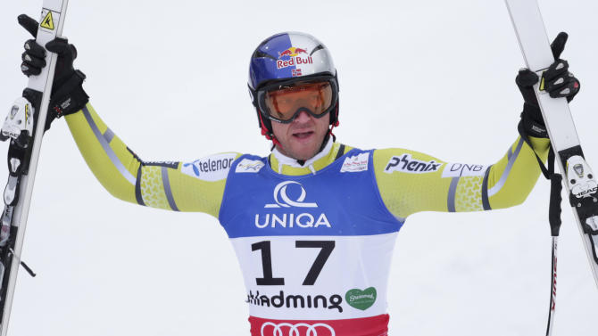 Norway's Aksel Lund Svindal reacts after his run of the men's downhill at the Alpine skiing world championships in Schladming, Austria, Saturday, Feb. 9, 2013. (AP Photo/Matthias Schrader)