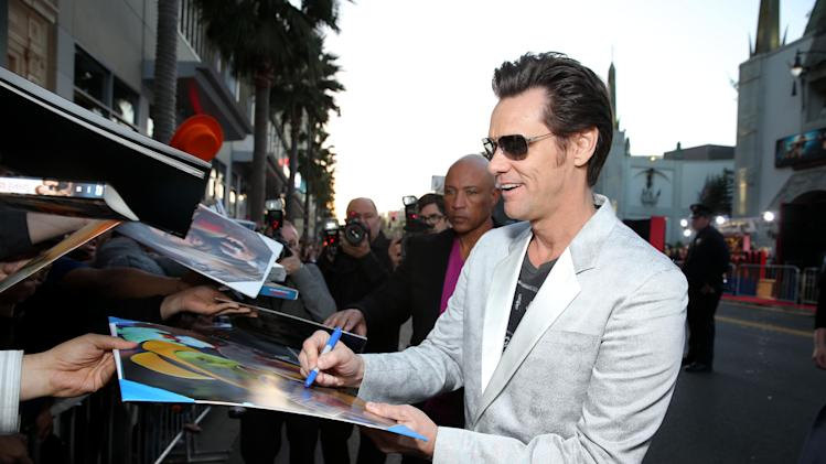 Jim Carrey at New Line Cinema's World Premiere of 'The Incredible Burt Wonderstone' held at Grauman's Chinese Theatre on Monday, Mar., 11, 2013 in Los Angeles. (Photo by Eric Charbonneau/Invision for New Line Cinema/AP Images)