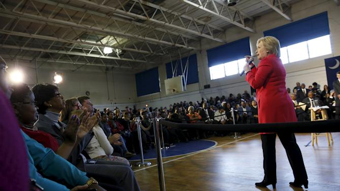 Democratic U.S. presidential candidate Hillary Clinton speaks to voters during a forum at Denmark-Olar Elementary School in South Carolina