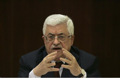 Palestinian President Mahmoud Abbas speaks during a meeting of the Fatah central committee at his headquarters in the West Bank city of Ramallah, Sunday, Jan. 29, 2012. Abbas has accused Israel of spoiling low-level talks, saying it failed to present detailed proposals for borders and security requested by international mediators. (AP Photo/Majdi Mohammed)