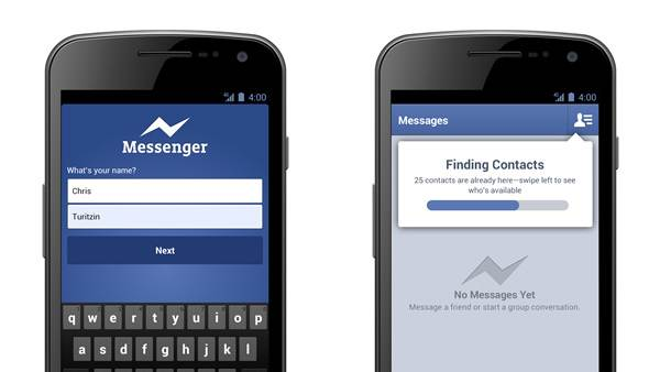 Facebook Messenger for Android now accessible with only a name and phone number