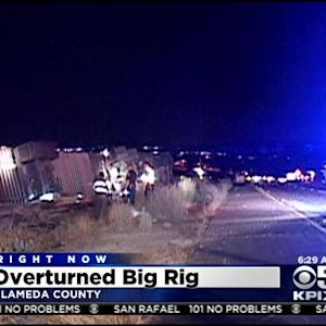 Overturned Big Rig Crash Spills Bananas On I-580 In Livermore Causing Major Delays