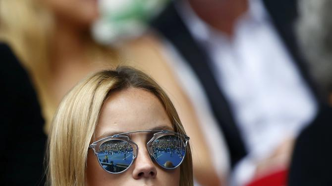 Ester Satorova, model and fiancee of Tomas Berdych of the Czech Republic, watches his men's singles quarter-final match against Rafael Nadal of Spain at the Australian Open 2015 tennis tournament in Melbourne