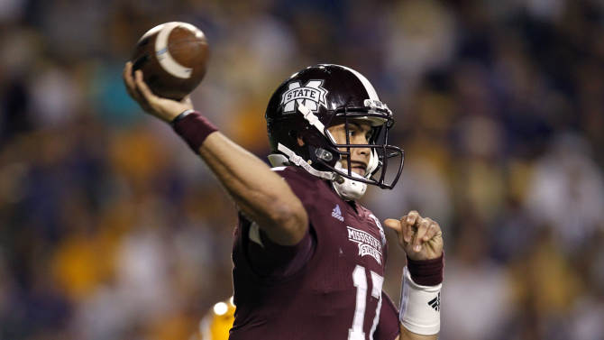 Mississippi State quarterback Tyler Russell (17) passes in the first half of their NCAA college football game against LSU in Baton Rouge, La., Saturday, Nov. 10, 2012. (AP Photo/Gerald Herbert)
