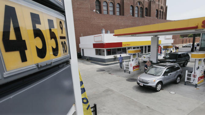 Premium gas at a station is selling at $4.55 per gallon at a north side station, Monday, June 11, 2012, in Chicago. U.S. oil production topped 6 million barrels a day in the first quarter of 2012, which was a 14-year high, according to the Energy Information Administration. (AP Photo/M. Spencer Green)