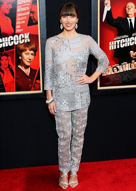 Jessica Biel's Silver, Sheer Pantsuit: Love or Hate It?