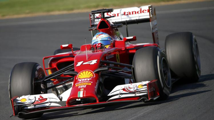 Ferrari Formula One driver Alonso of Spain drives during the second practice session of the Australian F1 Grand Prix in Melbourne