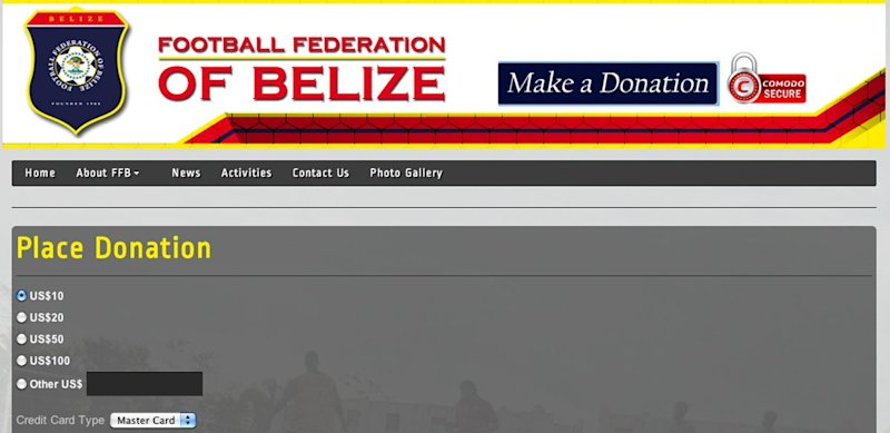 belize soccer donation page