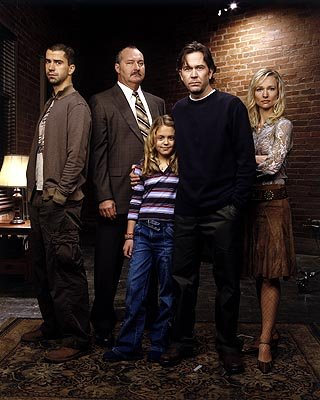 "Hamish Linklater as Carl, Randy Quaid as Sikorski, Gage Golightly as Jesse, Timothy Hutton as J.T. and Kari Matchett as Claudia Sci-Fi Network's ""Five Days to Midnight"""